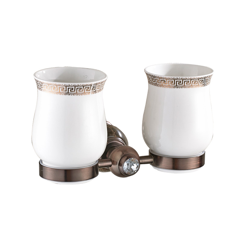 MADICA 20*11cm Double Cup Holders For Shower Room Embedded Toothbrush Glass Tumbler Holders Vintage Brass Wall Cup Holders
