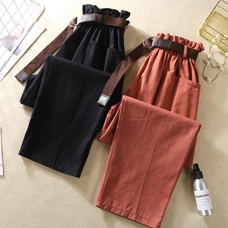 Elastic High Waist Pants Women Summer Harem Pants 2019 Bud Loose Ankle-length Pants For Women Red Trousers Women Green Pants