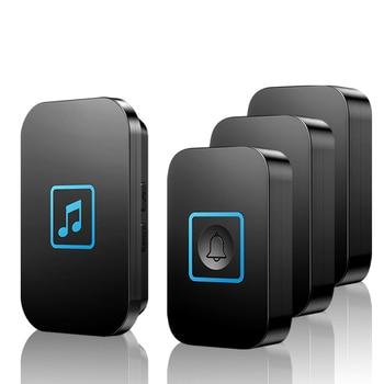 CACAZI Wireless Doorbell Waterproof 3 Button 1 Receiver US EU UK Plug LED Light Intelligent Wireless House Call  Battery Bell cacazi wireless waterproof doorbell 300m range us eu uk au plug home intelligent door bell chime 1 2 button 1 2 3 receiver
