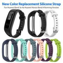 Pulseira de relógio inteligente, pulseira de silicone esportiva para huawei band 3e 4e huawei honor band 4, versão de corrida, bracelete de relógio inteligente banda