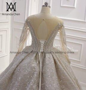 Image 5 - Свадебные платья для невесты 2020 роскошное свадебное платье с длинным рукавом и бисером