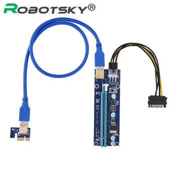 PCI-E Express Riser Card 1x to 16x 6 Pin Graphics Card Adapter Extender Riser Power Cable ETH LED Lamp for BTC Mining vodool pci e extender pci express riser card 1x to 16x 60cm usb 3 0 cable sata to 4pin molex power for bitcoin mining miner