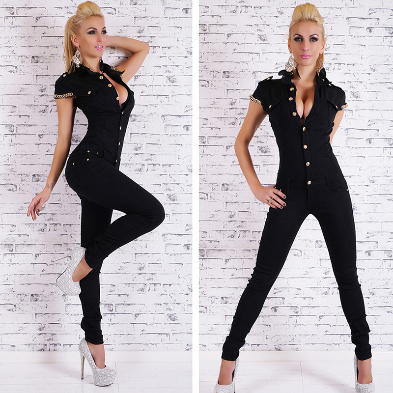Bigsweety Hot Sale Denim Long Jumpsuit Womens Sexy Deep V Neck Jean Jumpsuits Buttons Chain Black Overalls For Women Rompers
