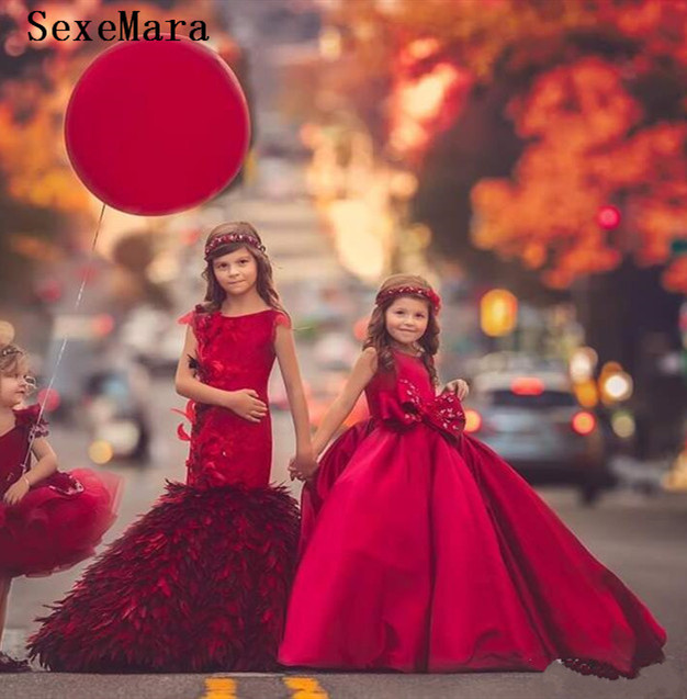 Luxury Red Satin   Girls   Clothes Customized   Flower     Girl     Dress   for Wedding Kids Birthday Party   Dress   Pageant Gown Kids Size 2-14Y