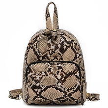 New Casual Shoulder Bag Female Wild Fashion Crocodile Pattern Contrast Color Student Backpack