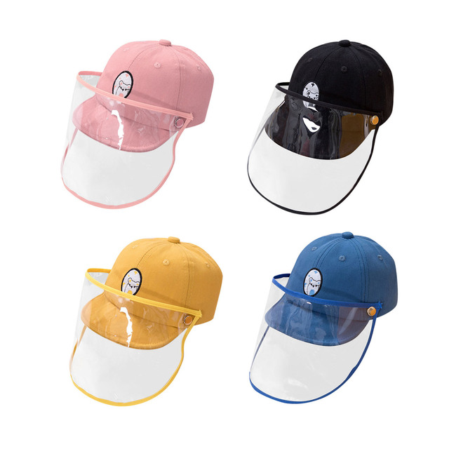 Cute Cartoon Detachable Anti Spitting Saliva Dust Hat Baseball Sun Protection Cap with Face Shield for Kids Children