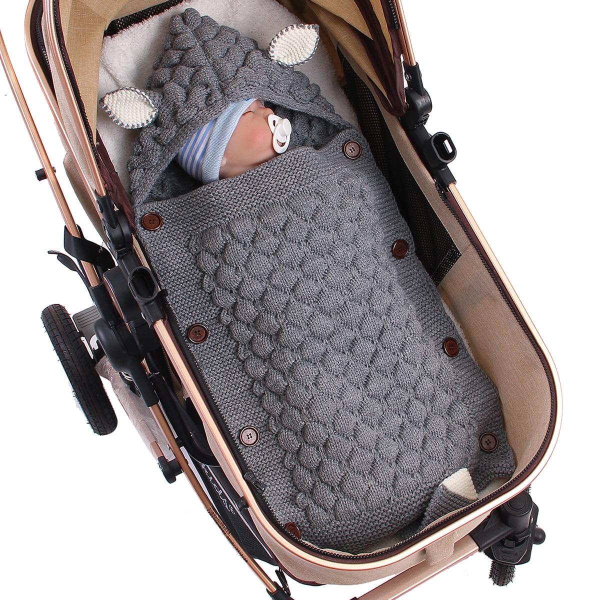 Baby Woolen Swaddle Wrap Blanket Envelope For Newborn Infant Girls Boys Knit Crochet Winter Sweater Sleeping Bag Sack Puseky