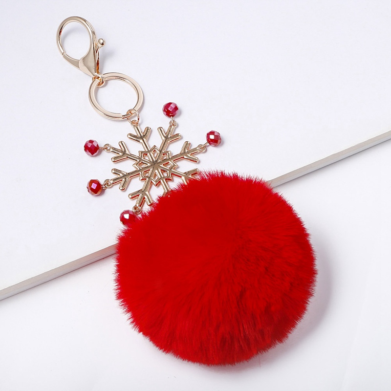 Christmas gifts key rings winter <font><b>snowball</b></font> ball Hairball <font><b>Plush</b></font> key chains car ornaments simulation bag pendant key ring jewelry image