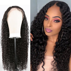 Human-Hair-Wigs Afro Curly Long-Frontal Deep-Water-Wave Black-Women 100%Remy-Hair Malaysian