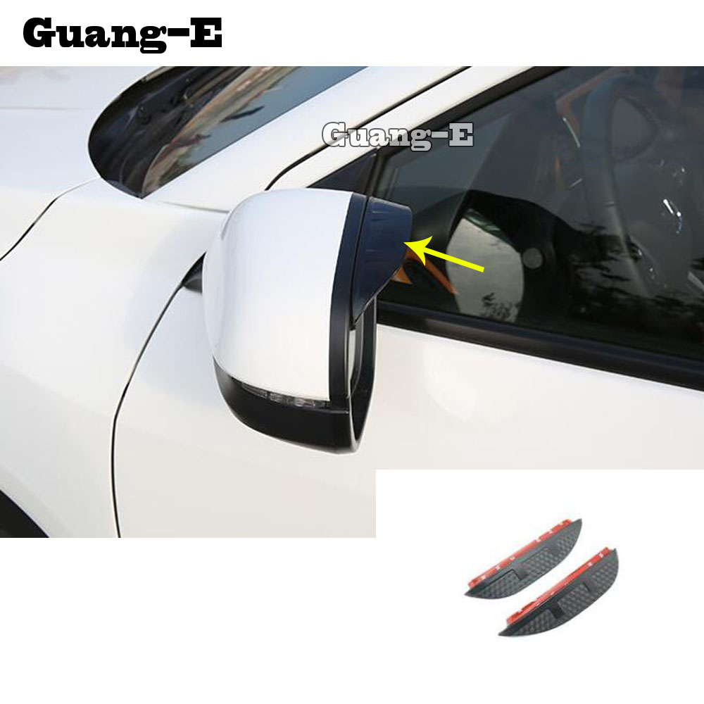 Car Rear Rearview <font><b>Side</b></font> Glass <font><b>Mirror</b></font> Trim Frame Rain Shield Sun Visor Shade Eyebrow 2pcs For <font><b>Honda</b></font> <font><b>HRV</b></font> HR-V Vezel 2019 2020 image