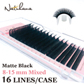 NATUHANA 16lines 8-15mm Mixed Eyelash Extension Matte Black Synthetic Mink Soft False Eyelashes Custom Private Label Faux Lashes