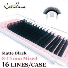 NATUHANA 16lines 8-15mm Mixed Eyelash Extension Matte Black Synthetic Mink Soft False Eyelashes Custom Private Label Faux Lashes