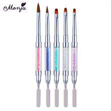 Monja, двойная головка, для дизайна ногтей, Цветочная резьба, кисть для рисования, акриловая, УФ-гель для удлинения, ручка для рисования, для удаления геля, шпатель