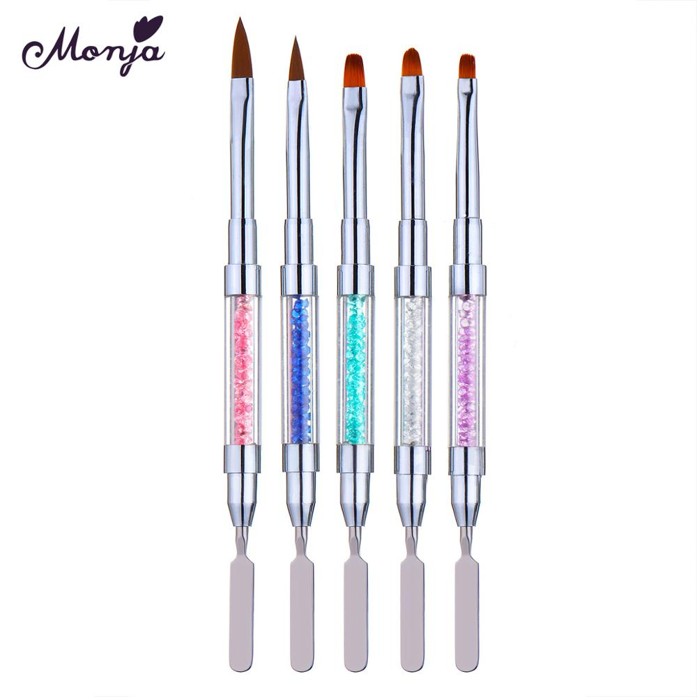 Monja Dual Head Nail Art Flower Carving Painting Brush Acrylic UV Gel Extension Drawing Pen Nail Gel Removal Spatula Stick