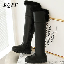 Black Autumn Winter New Over-the-Knee Boots Women Plus Size 43 Fashion Platform Shoes Woman Faux Fur Pu Leather Solid High Boots(China)