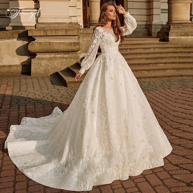 Traugel Vintage Luxury Scoop A Line Lace Wedding Dresses Chic Long Lantern Sleeve Bride Dress Court Train Wedding Gown Plus Size 1