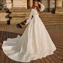Винтажное свадебное платье с длинным рукавом фонариком роскошное