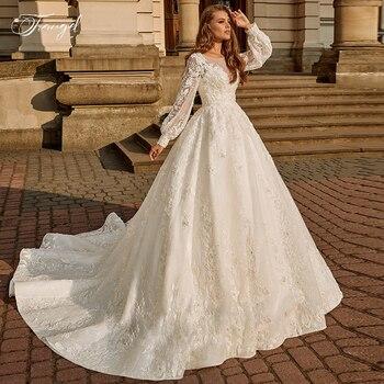 Traugel Vintage Luxury Scoop A Line Lace Wedding Dresses Chic Long Lantern Sleeve Bride Dress Court Train Wedding Gown Plus Size