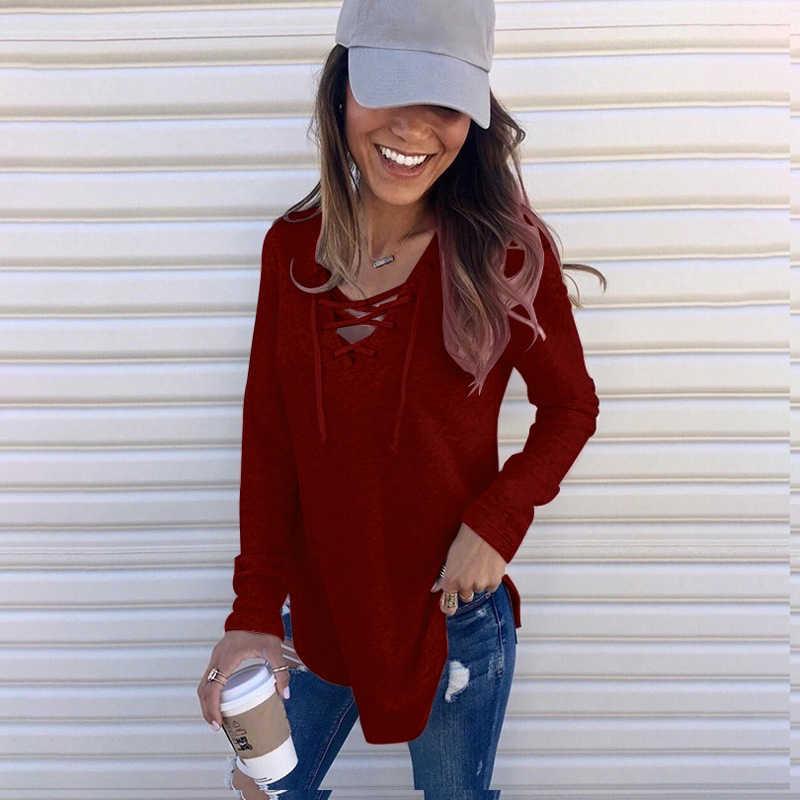 ผู้หญิงฤดูใบไม้ร่วง Hoodies สีทึบ V คอผ้าพันคอผ้าหลวมบางสบายๆเสื้อหญิง