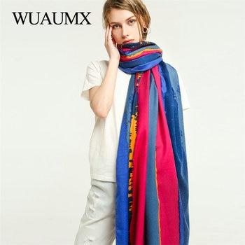 Wuaumx Warm Scarf Women Autumn Winter Ladies Scarves Double Sided Multicolor Stripe Pattern Shawl Wrap Warm Cotton Scarf Female недорого