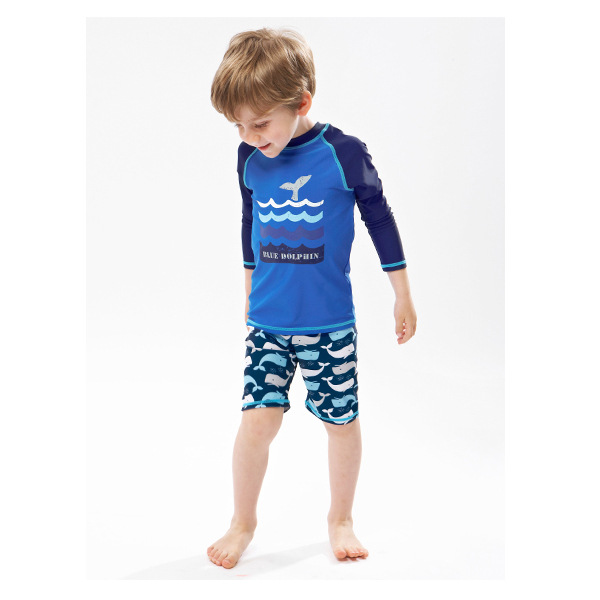 2018 Korean-style New Style Children Long Sleeve Whale Fish Modeling Sun-resistant Two-piece Swimsuits Diving Suit BOY'S Flat Pa