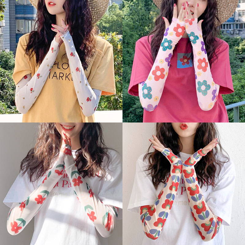 2020 New Sunscreen Gloves Web Celebrity Same Style Lace Ice Sleeve Fashion Cycling Half Finger Ice Silk Sleeve For Wemen