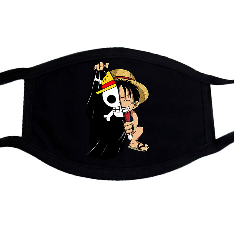One Piece Japan Anime Printed Mask Face Cartoon Washable Unisex Dust Proof Mouth Muffle Mask Black Winter Warm Cotton Masks