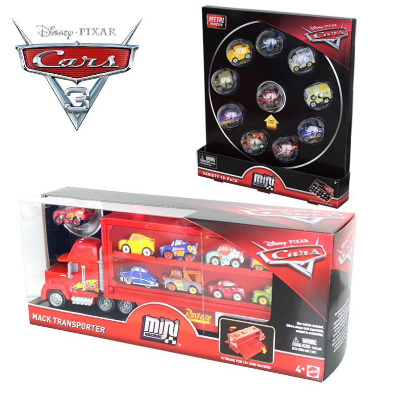 Disney pixar carros 3 relâmpago mcqueen, caminhão mack flg70, mini liga, transporte de carro, caixa de armazenamento, brinquedo de menino, presente de aniversário infantil