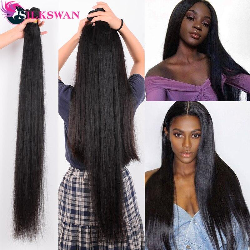 Silkswan 32 34 36 38 40 Polegada pacotes de cabelo humano em linha reta 3 4 peças remy extensão do cabelo brasileiro tecer pacotes
