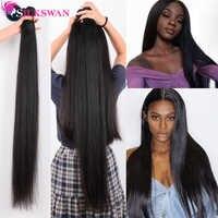 Silkswan 32 34 36 38 40 Inch Straight Human Hair Bundles 3 4 pieces Remy Hair extension Brazilian Hair Weave Bundles