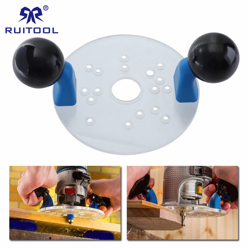 Router Base with Double Handles Palm Router Fixed-base Guide Wood Router Jig for Hand Trimmer Woodworking Milling Engraving