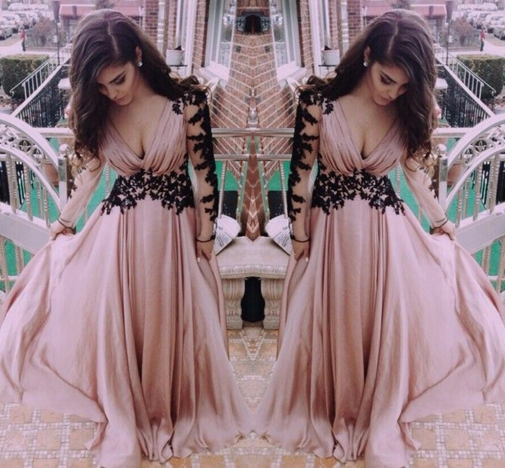 Top Selling Pink Long Sleeve Sexy Prom Gown Deep V-neck Evening Formal Dress Women Elegant Robe De Soiree Mother Bride Dresses
