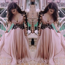 Top Selling Pink Long Sleeve Sexy Prom gown deep v-neck evening formal dress wom