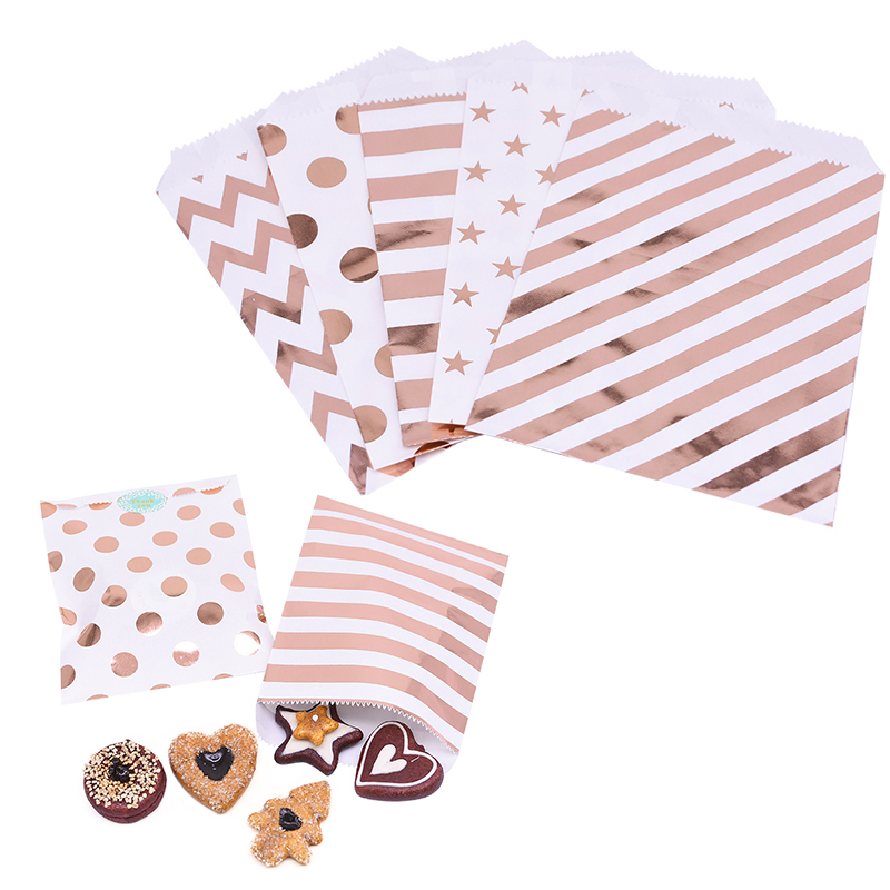 25 Pcs Rose Gold Papieren Zakken Gift Bag Treat Candy Bag Wedding Party Favor Voedsel Verpakking Snack Cookies Chevron Polka dot Streep Zakken title=
