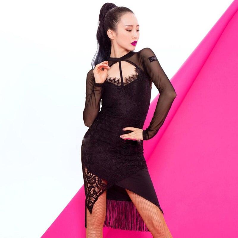 Latin Dance Dress Women Sexy Lace Tassel Competition Performance Clothing Tango Salsa Cha Cha Samba Rumba Stage Wear DNV12723