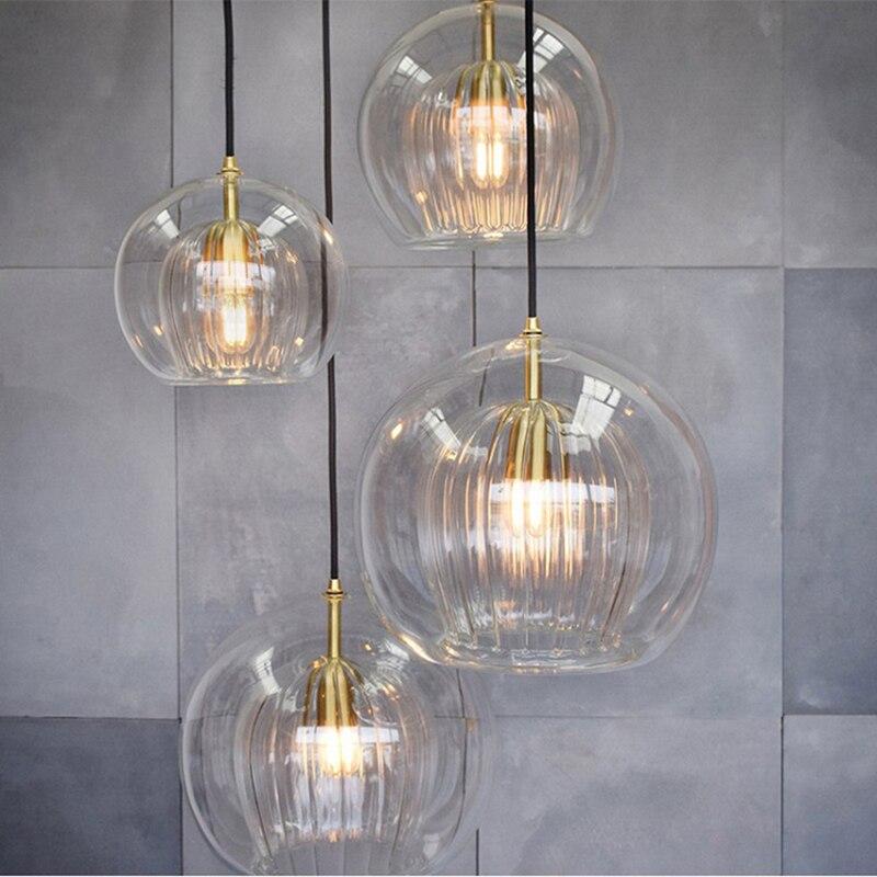 Moderne minimalistischen doppel transparenten glas einzigen kopf anhänger lampe E27 beleuchtung nacht schlafzimmer dekoration hängen draht LEDlamp