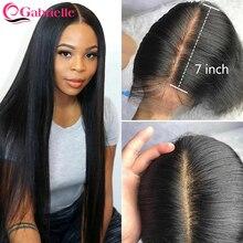 Gabrielle 7x7 кружева с пучками бразильские прямые человеческие волосы пучки с закрытием Remy волосы 7x7 закрытие и пучки