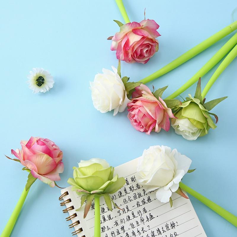 16PCS Rose Soft Gel Pen 0.5mm Student Stationery Creative Styling Pen Kawaii School Supplies