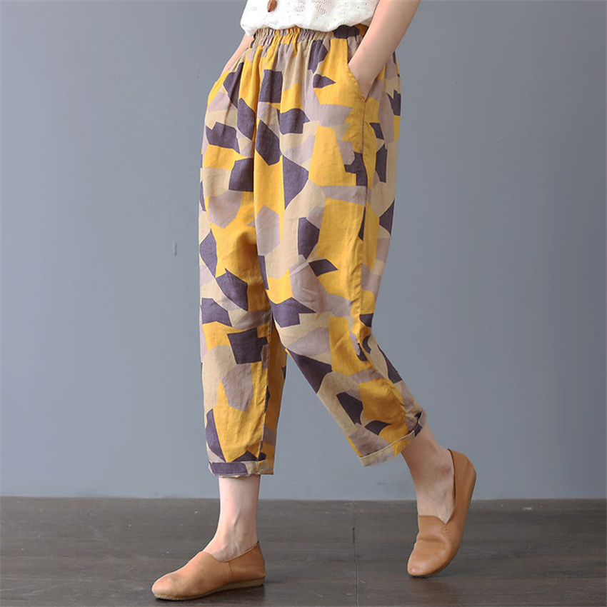 Cotton Woman Traditional Chinese Style Harem Pants Loose Floral Printed Wide Leg Trousers Plus Size Summer Radish Trousers