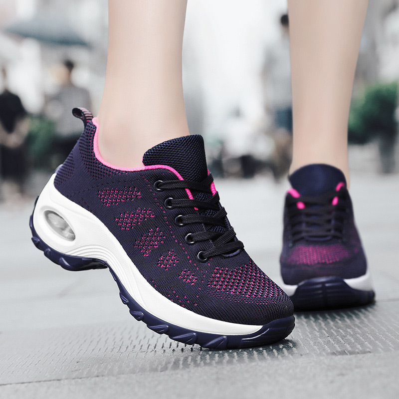 Platform Wedge Shoes Women Sneakers 2019 Vulcanized Shoes Sneakers Lace-up Air Mesh Mixed Colors Casual Shoes Woman Sneakers