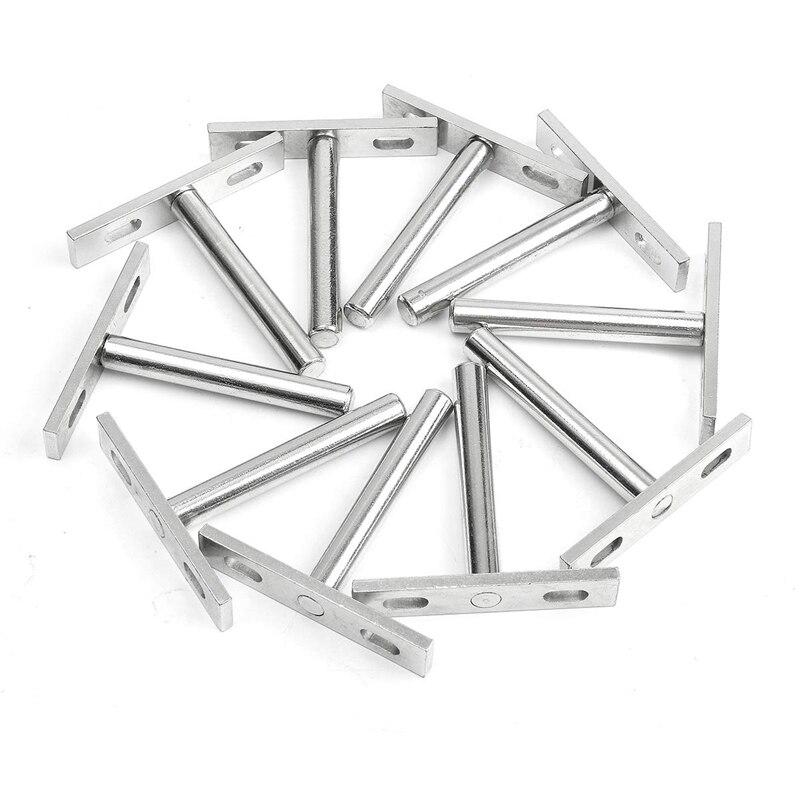 12PCS 4 Inch Foldable Shelf Support Bracket Concealed Floating Wall Shelf Support Bracket For Heavy-Duty Bracket