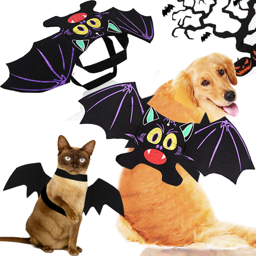 Buy Cat Clothes Halloween Pet Cat Costumes Bat Wings Vampire Black Cute Dress Cat Costume Pet Cosplay Clothing Dog Wings Perro Gatos for only 3.05 USD