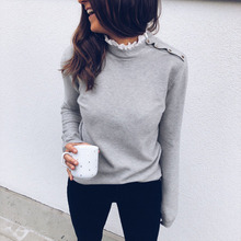 2019 Autumn Women Elegant Basic Sweats Female Leisure Solid Top Lace Mock Neck Button Detail Casual Top недорого