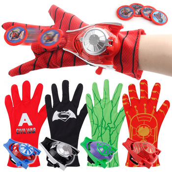 man 5 Styles 24cmPVC Superhero Marvel Captain America Iron Man Spider-Man Launcher Gloves Children Cosplay Spider-Man Cosplay Toy