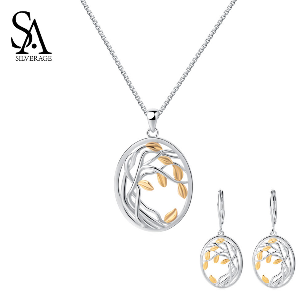 SA SILVERAGE 925 Sterling Silver Yellow Gold Color Jewelry Sets for Woman Life Tree Silver Pendant Necklaces Drop Earrings Sets