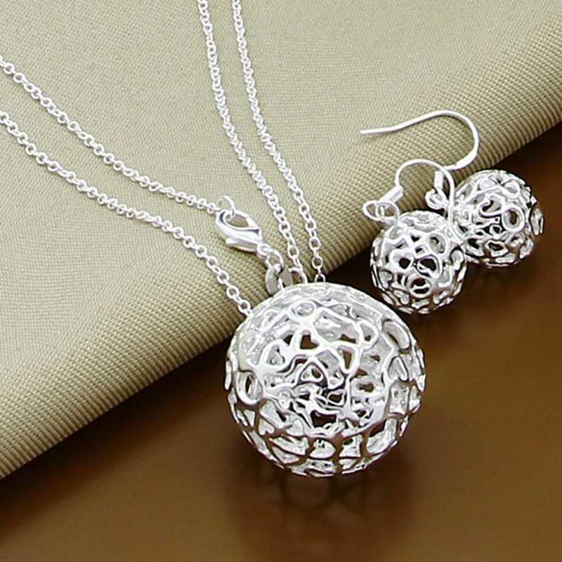Nuevos conjuntos de joyas de plata de ley 925 de moda Simple Luna de insectos bola redonda collar pendientes conjuntos para regalo de mujer
