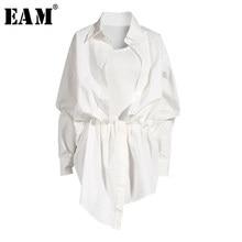 [EAM] kobiety biały nieregularne węzeł podziel Big Size sukienka nowa z klapami z długim rękawem luźny krój moda wiosna lato 2021 1X3420
