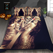 Dropshipping 3D Bedding Set Duvet Cover 3D Skull Bedding Sets QUEEN King size gife cheap NoEnName_Null None Duvet Cover Sets National Standards Woven 133X72 Wolf Bedding Set Microfiber Fabric 1 35m (4 5 feet)