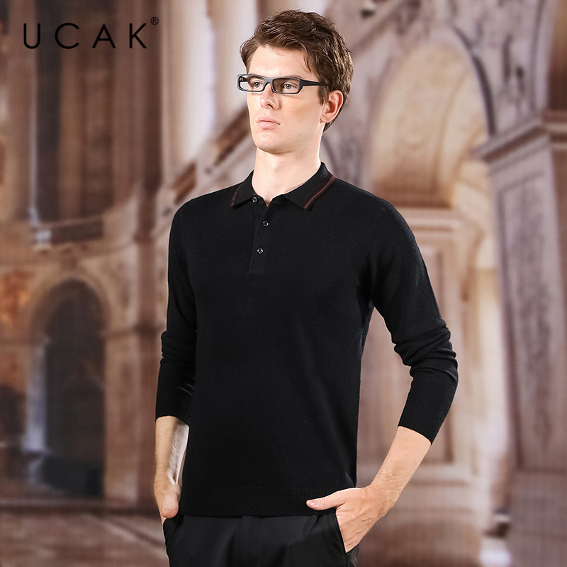 UCAK Brand Pure Merino Wool Turn-down Collar Solid Sweater Men 2020 New Arrival Casual Spring Autunmn Streetwear Pullover U3163
