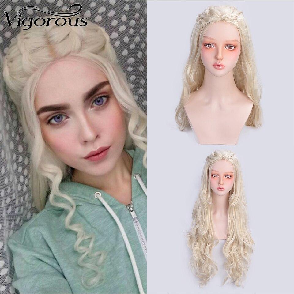 Vigorous Long Blonde Wavy Wig Synthetic  Wigs For Women Game Of Thrones Daenerys Targaryen  Heat Resistant Fiber Cosplay Wig